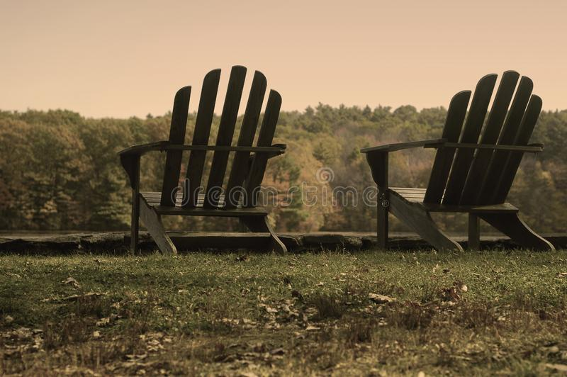 Download Aged Adirondack Chairs stock image. Image of chair, serene - 1772827