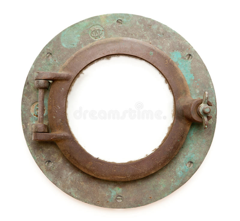 Aged Antique Ship Porthole Isolated with Paths stock images