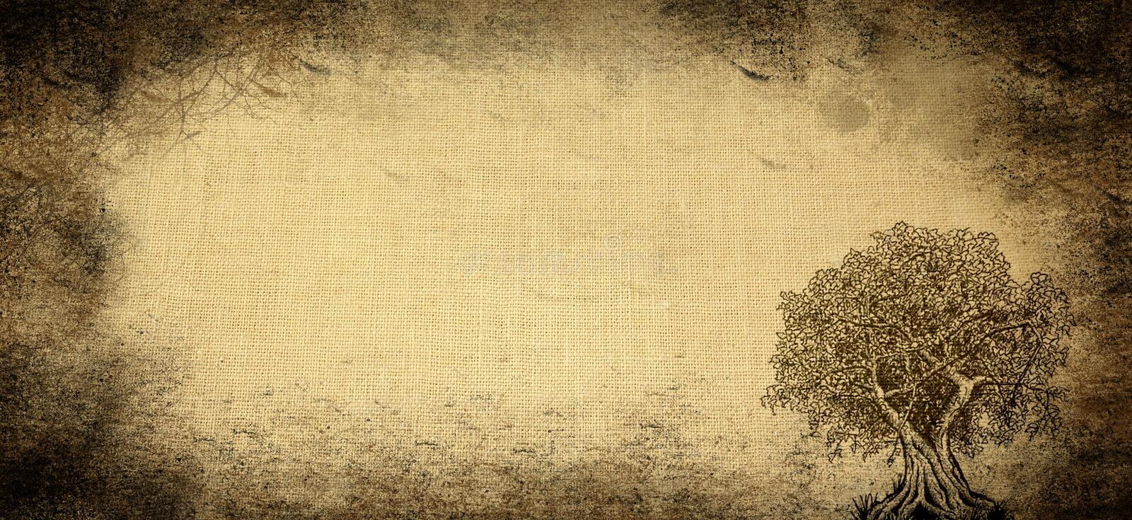 Aged background with tree stock image