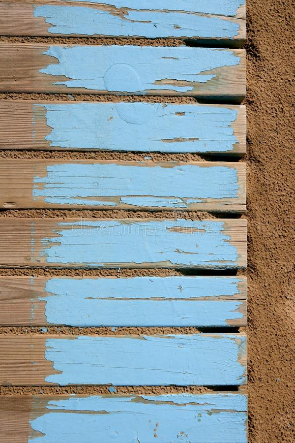 Download Aged Beach Blue Wooden Floor On Sand Stock Photo - Image: 15246064
