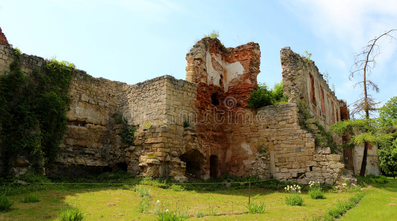 Aged castle, architecture building in the western part of Ukraine. Historical construction. royalty free stock photo
