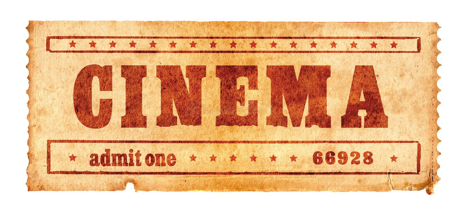 Aged cinema ticket 2. Second in the cinema ticket series