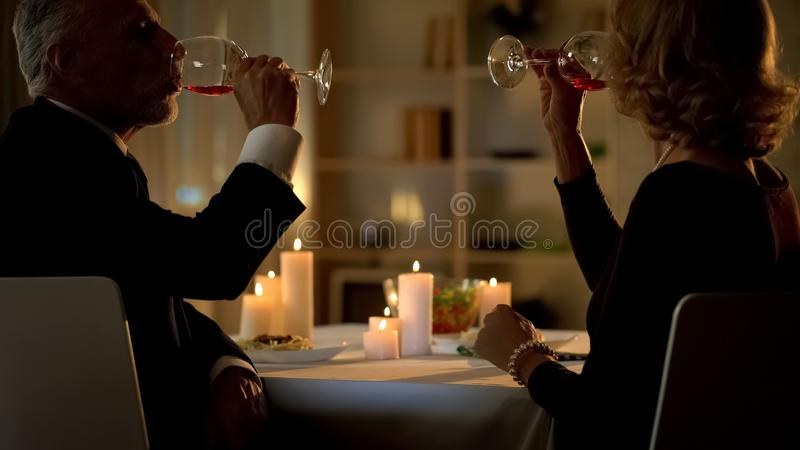 Aged couple drinking wine in luxury restaurant, close friends affection, toast stock photo