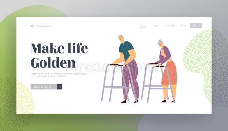 Aged Couple Walking with Walker on Street. Happy Senior Man and Woman Characters Together. Elderly People. Old Age Concept Website Landing Page, Web Page stock illustration
