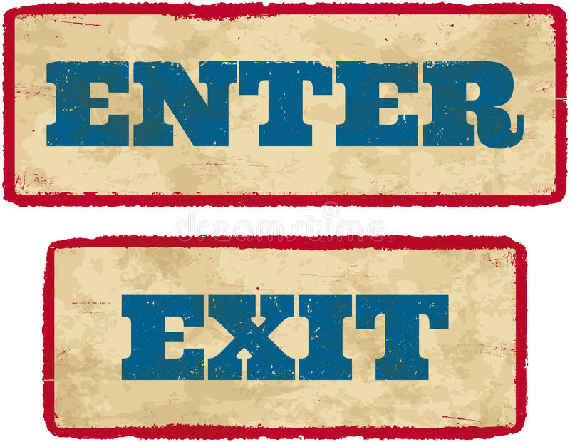 Download Aged Enter And Exit Signs Stock Photos - Image: 25901573