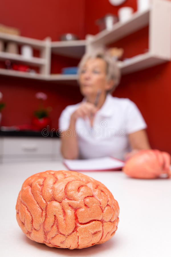 Aged female doctor, in front a plastic brain. Red surgery stock photography