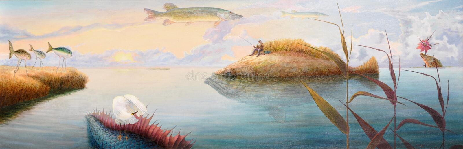 Aged fisherman dreaming. About good catch royalty free illustration