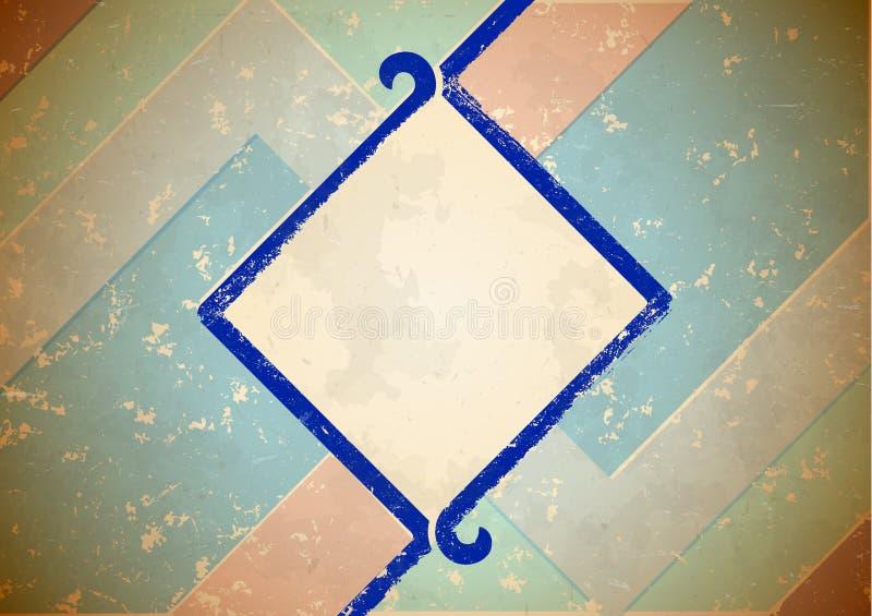 Aged frame with blue border vector illustration