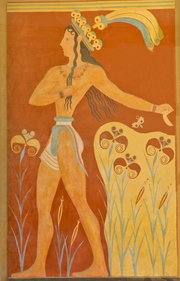 Aged fresco of warrior stock image