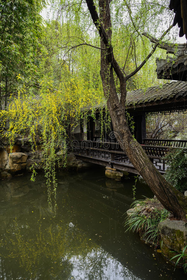 Aged gallery over water in spring,China royalty free stock image