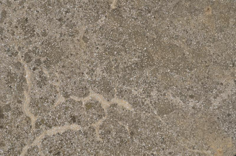 Aged gray surface of the artificial stone material. Old seasoned surface of an artificial stone made of mixture of mortar and tiny pieces of white marble. Grainy stock photography