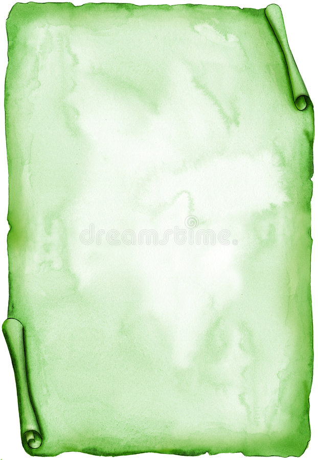 Aged green parchment - watercolor vector illustration