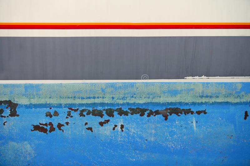 Aged grunge boat iron rusty blue hull stock image