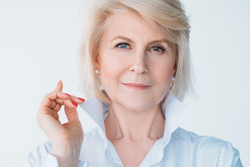 Aged lady confidence elegance stylish index finger stock photos