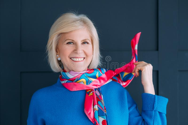 Aged lady style accessories neckerchief smiling royalty free stock photos