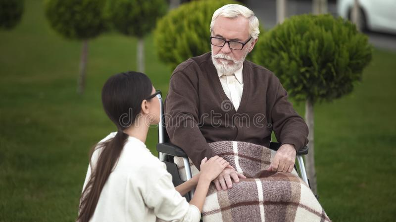Aged man in wheelchair talking young lady, veteran chatting with granddaughter royalty free stock photos