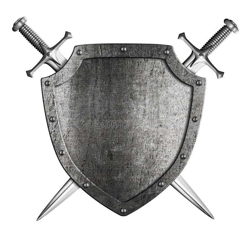 Free Aged Metal Knight Shield With Two Crossed Swords Coat Of Arms Stock Photography - 37800012