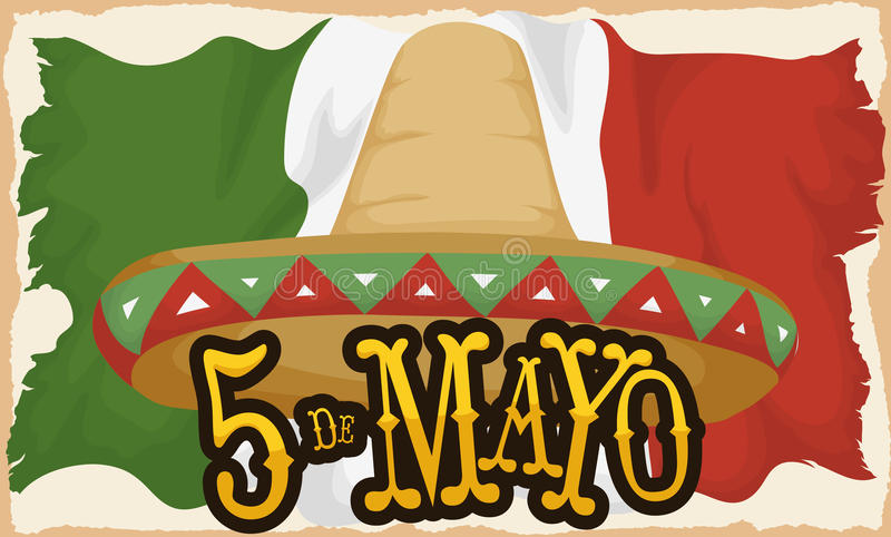 Aged Mexican Flag and Straw Hat for Cinco de Mayo, Vector Illustration. Banner with traditional Mexican straw hat and aged flag to celebrate Cinco de Mayo vector illustration