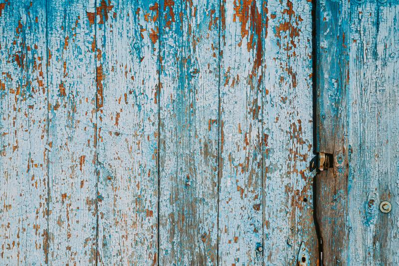 Aged Natural Old Blue Color Obsolete Wooden Board Background. Grungy Vintage Wooden Surface. Painted Obsolete Weathered stock image