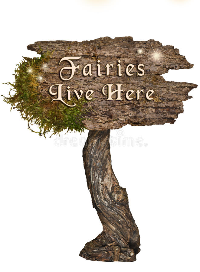 Free Aged Natural Wood Sign With Letters Fairies Live Here Royalty Free Stock Photo - 99110975