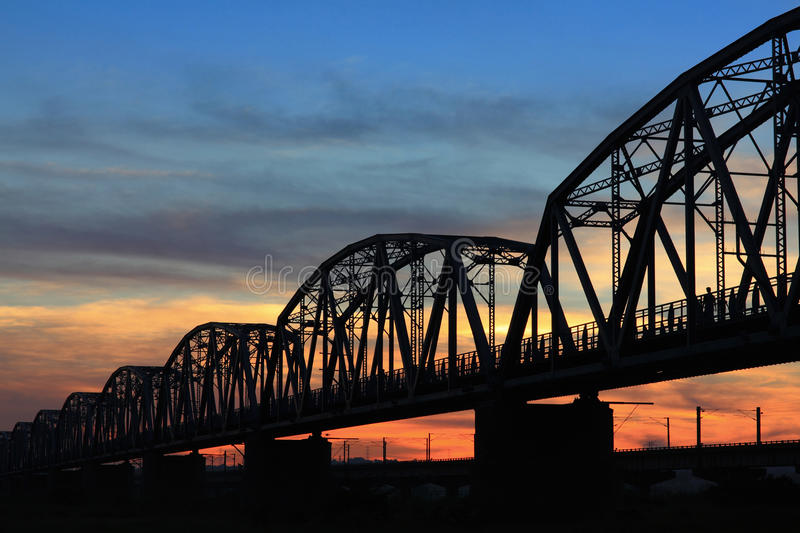 Download Aged And Old Railroad Bridge Silhouette Stock Photo - Image: 23767386