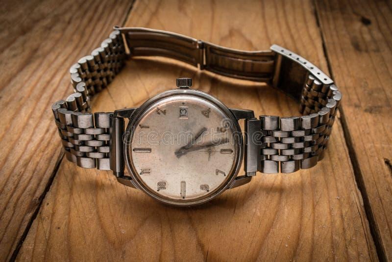 Old vintage man wrist watch royalty free stock photo