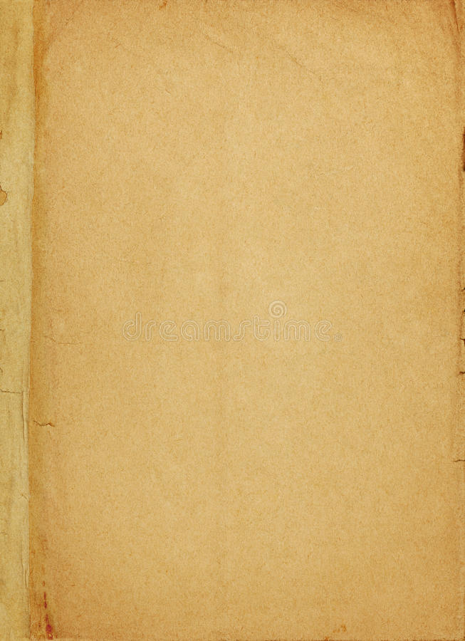 Aged paper book cover page stock photo