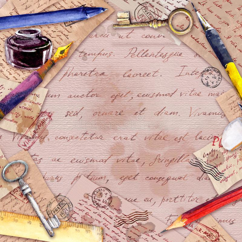 Aged paper, letters, hand written text , vintage pen, pencil, ink bottle. Vintage card, blank, frame royalty free stock photography