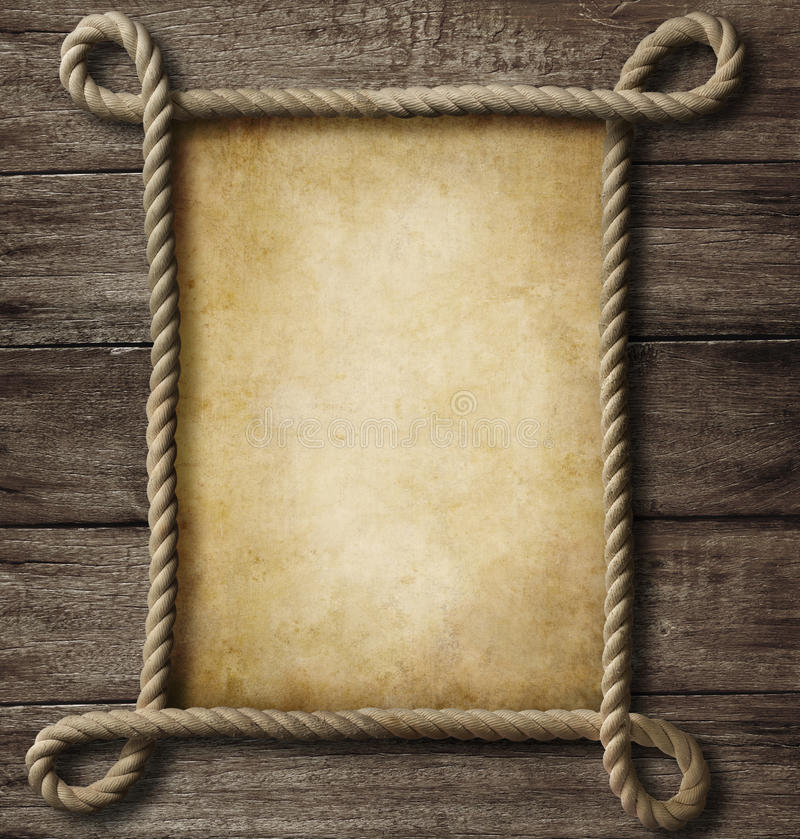 Aged paper with rope frame royalty free illustration