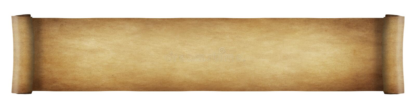 Aged paper scroll - long. Long aged grunge and yellowed paper scroll. Isolated on white background royalty free stock photography