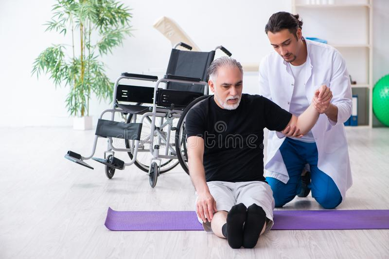 Aged patient recovering from injury in hospital. The aged patient recovering from injury in hospital stock photos