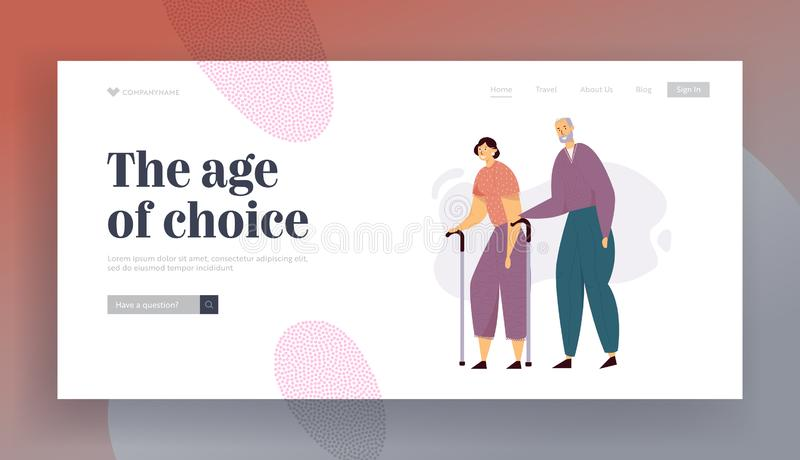 Aged People Couple Walking with Sticks. Senior Man and Woman Characters Happy Together. Elderly People vector illustration