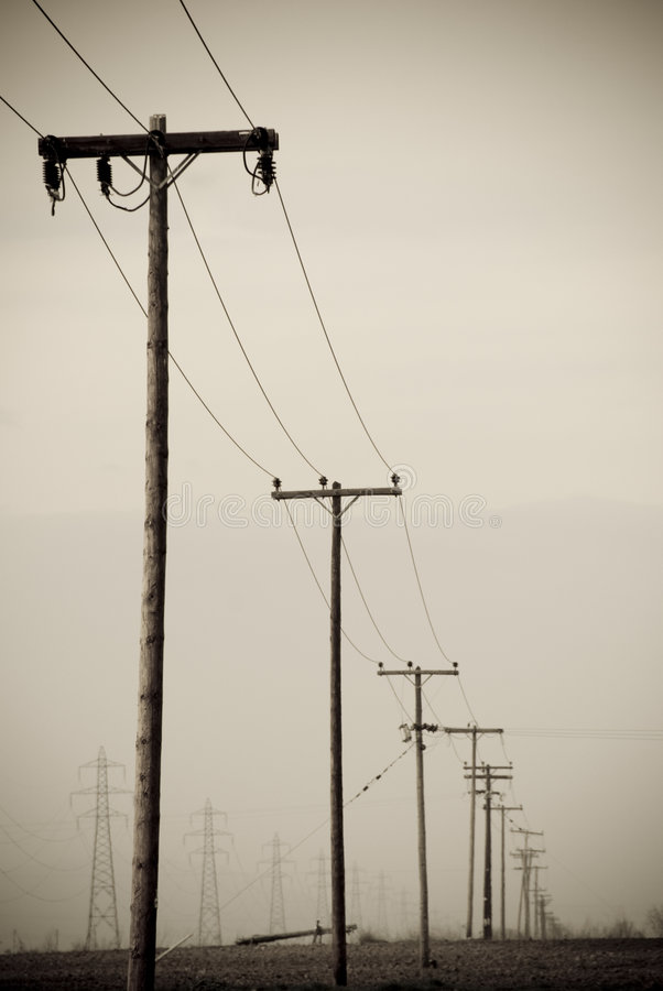 Aged photo telephone pole. The feel of an aged photo of telephone wire pole stock images