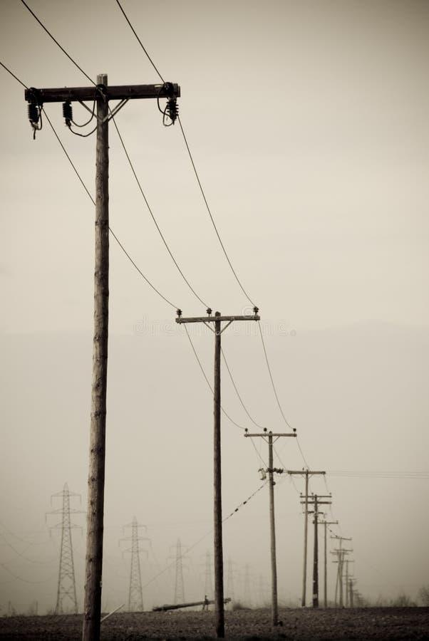 Aged photo telephone pole stock images