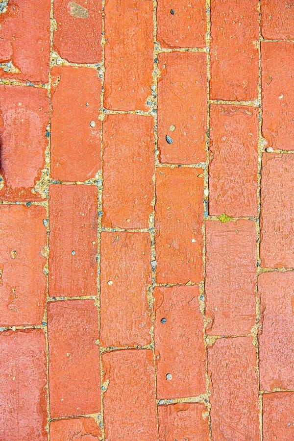 Aged red brick walkway pattern royalty free stock image