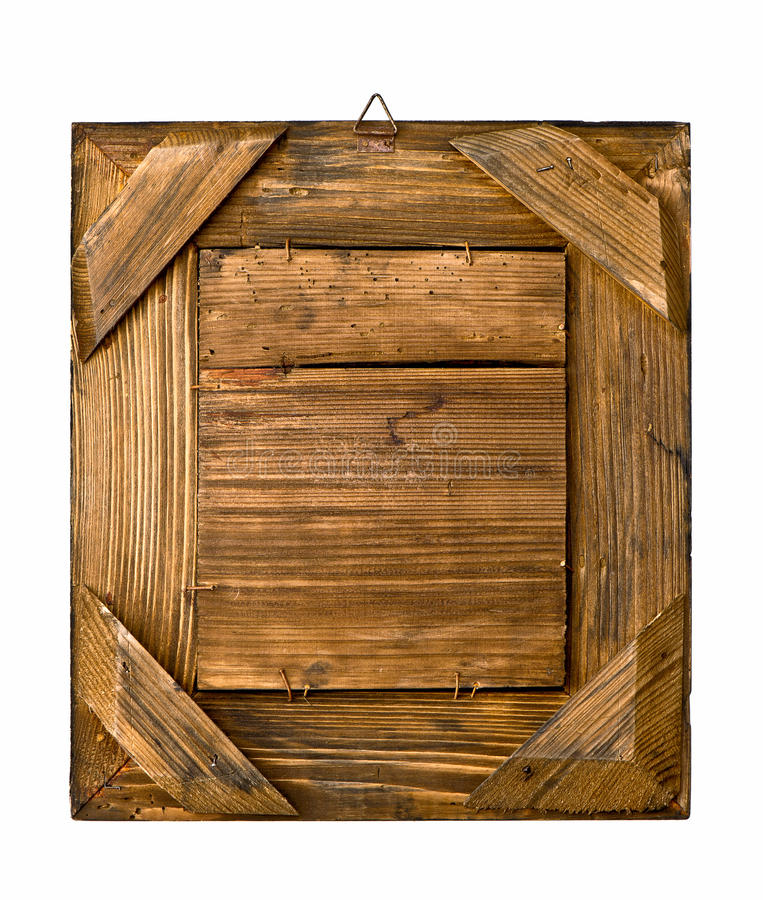 Aged rustic wooden frame on white royalty free stock photography