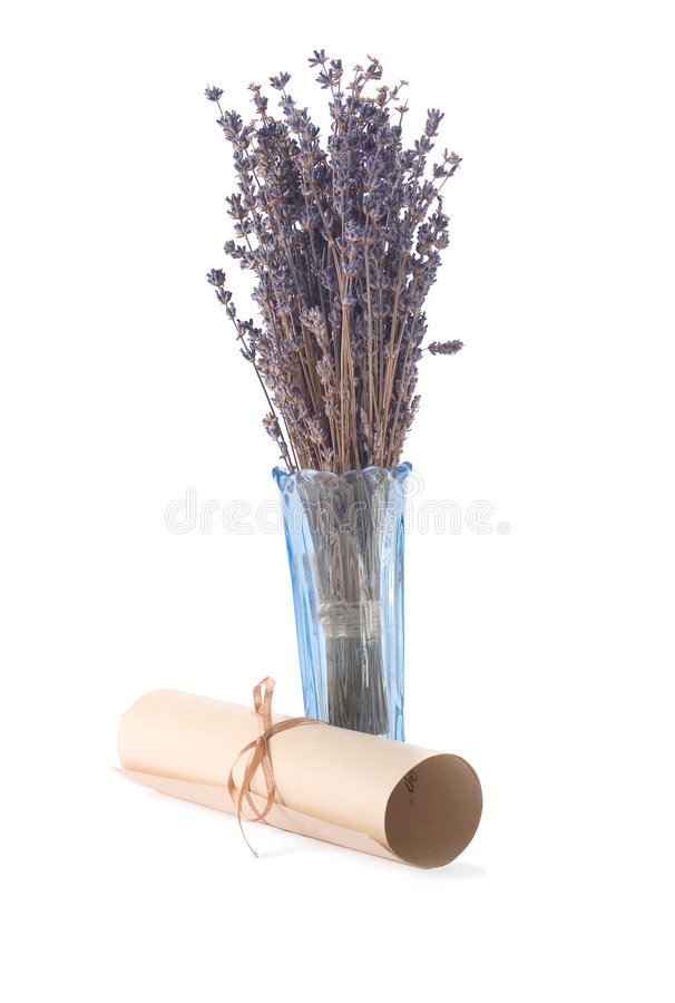 Aged scroll and dried lavender royalty free stock photo