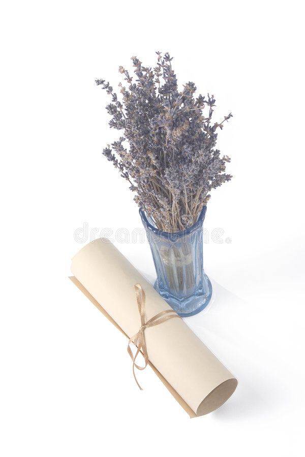 Aged scroll and dried lavender royalty free stock photos