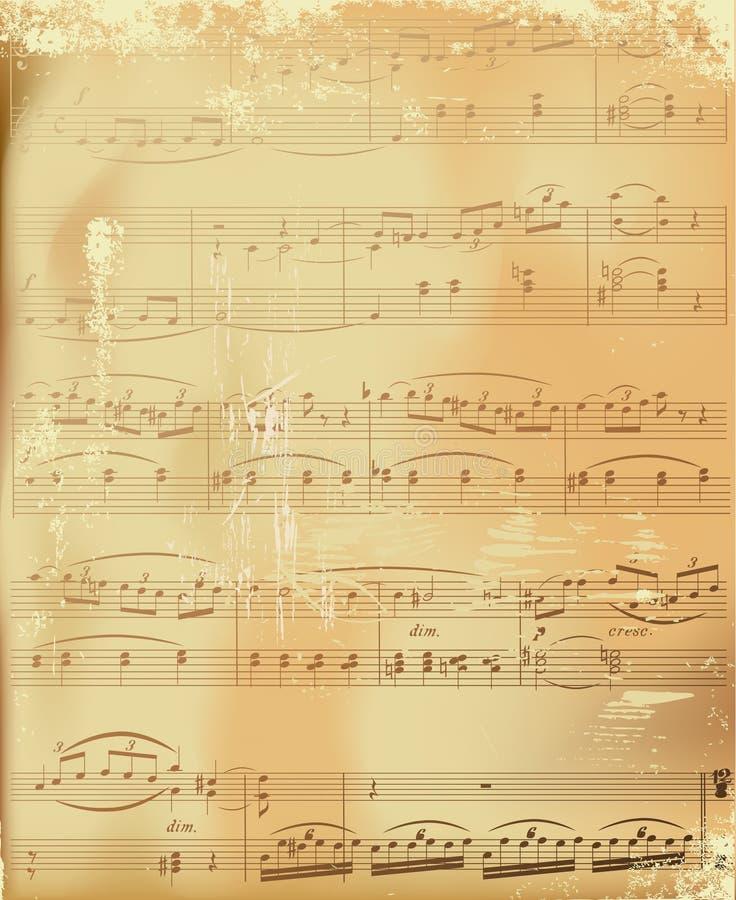 Aged sheet music. Illustration vector illustration