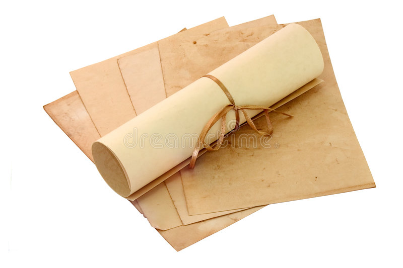 Aged sheets and scroll stock photos