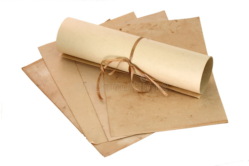 Aged sheets and scroll royalty free stock photography