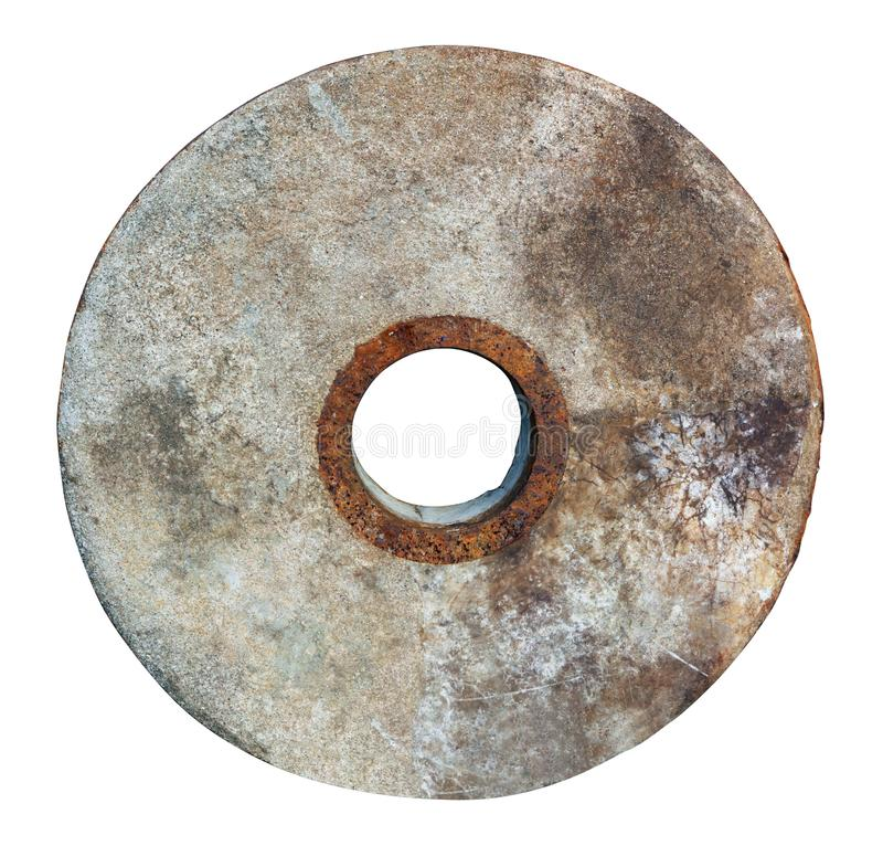 Stone aged  wheel for mill  isolated stock photography
