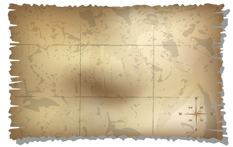 Aged treasure map with compass background stock illustration
