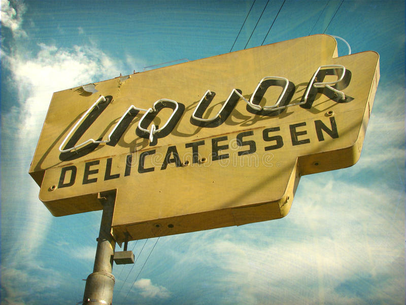 Download Aged Vintage Liquor Store Sign Stock Photo - Image: 28113506