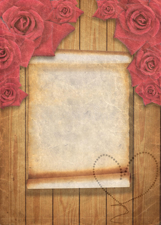 Aged vintage wedding background with red roses. royalty free illustration