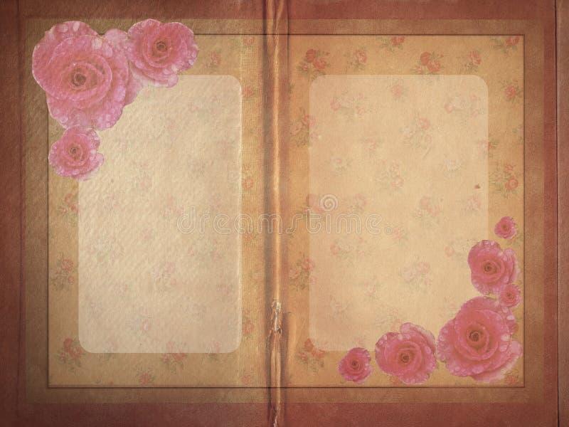Aged vintage wedding (holiday) invitation card. stock illustration
