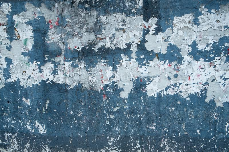 Aged wall blue paint stock images