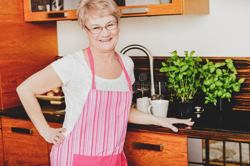 Aged woman in apron royalty free stock photo