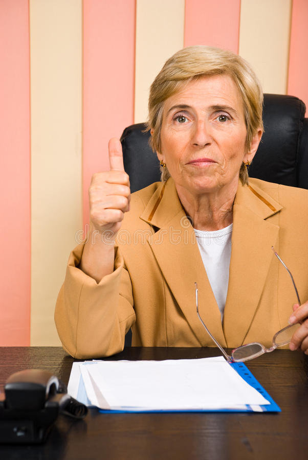 Download Aged woman give thumb up stock image. Image of formal - 14789205