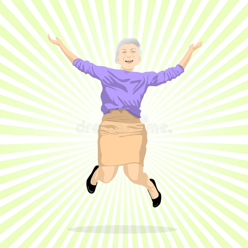Aged woman jumping of joy royalty free illustration